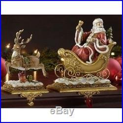 Set of 2 Josephs Studio Santa Claus and Reindeer Christmas Stocking Holders