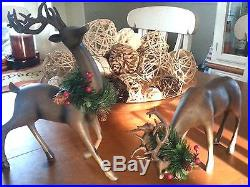 Set of 2 Large Reindeer Statues Standing & bowing Holiday Christmas Decor