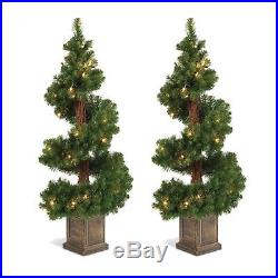 Set of 2 Lighted 3.5 Foot High Christmas Pine Topiary Trees in Base Potted Ent