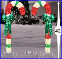 Set of 2 Lighted Candy Cane Sculptures Outdoor Christmas Decor Holiday Yard Art