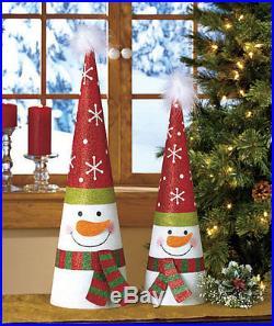 Set of 2 Metal Tree Shaped Holiday Christmas Decor Snowman NEW
