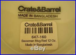 Set of 2 NEW Crate & Barrel Red/White Snowman/Snowflake Christmas Holiday Mugs