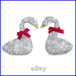 Set of 2 Outdoor Lighted Ice Crystal Swans Christmas Yard Lawn Decor Sculptures