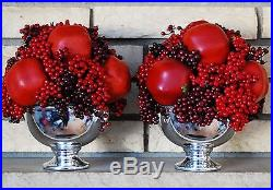 Set of 2 Restoration Hardware Red Pomegranate Berry Vase Arrangements