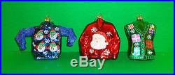 Set of 3 Blown Glass Christmas SweaterTree Ornaments