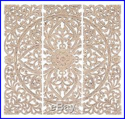 Set of 3 Carved Wood Wall Panels Antique White Floral Home Decor 14318