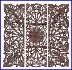 Set of 3 Carved Wood Wall Panels Brown Floral Leaf Home Decor 14336