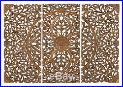 Set of 3 Carved Wood Wall Panels Brown Intricate Floral Home Decor 14323