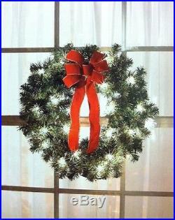 Set of 3 Christmas 22 Wreaths Indoor Outdoor Decoration Pre-Lit UL 60 Lights