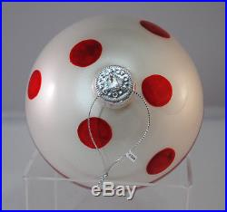 Set of 3 Large Round Glass Christmas Ornaments Red White Holiday Decoration