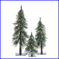 Set of 3 Pre-Lit Alpine Trees 2 Foot, 3 Foot and 4 Foot High With Metal Stands