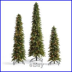 Set of 3 Slim Pine Pre Lit Artificial Christmas Trees Holiday Display Decoration