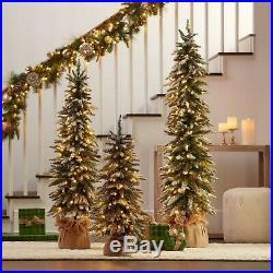 Set of 3 Topiary Christmas Trees Pre Lit 220 LED Lights 5′ 4′ 3′ Flocked