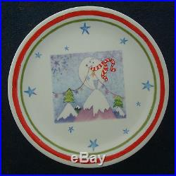 Set of 3 fiasco inc Christmas holiday cookie dessert plate 8½ tree snowman bear