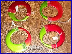 Set of 4 Glass Round Christmas Ornaments-Red/Green New