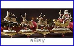 Set of 4 Josephs Studio Santa Claus and Reindeer Christmas Stocking Holders