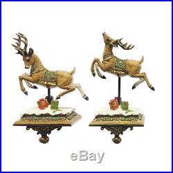 Set of 4 Luxury Santa Claus & Reindeer Stocking Hangers