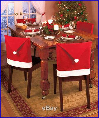 Set of 4 Santa Clause Red Hat Chair Back Covers for Christmas Dinner Decor New