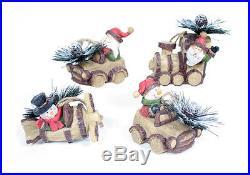 Set of 4 Wood Look Snowman & Santa Christmas Tree Ornaments