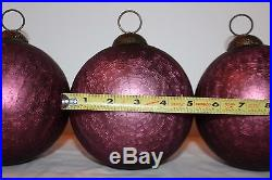 Set of 5 HUGE Mercury Crackle Glass 6 Decorator Ornaments Amethyst Purple