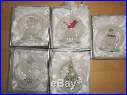 Set of 5 Illuminated Glass Ornaments withGift Boxes Christmastree angel bird