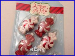 Set of 6 Christmas Holiday Mini Peppermint Round Candy Ornaments Red & White
