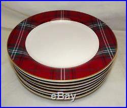 Set of 7 Williams Sonoma Tartan Plaid Dinner Plates