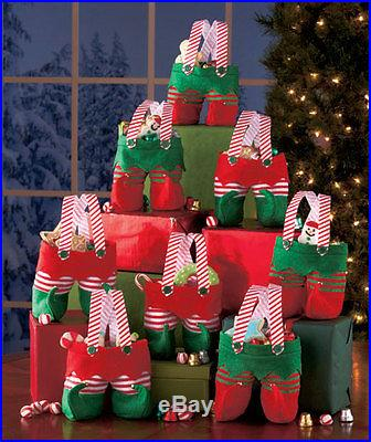 Set of 8 Elf Pants Treat Bags Christmas Gift Candy Polyanna Home Table Decor New