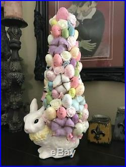 Shabby Chic Ceramic Easter Bunny Glittery Eggs Tree Centerpiece Holiday Decor