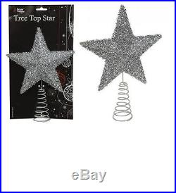 Silver Christmas Tree Top Star With Fleck Finish 25 X 19cm