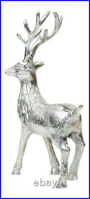 Silver Reindeer Figurine Winter Wonderland Christmas Decor Tree Metal Ornament