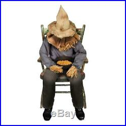 Sitting Scarecrow Halloween Haunted House Prop Scary Spooky Decoration Animated