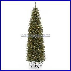 Slim Artificial Christmas Tree 7.5 White Lights Non-Allergenic Led Light Pre Lit