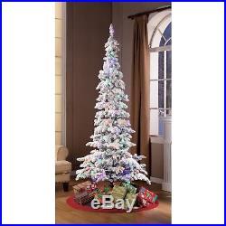Slim Prelit Christmas Tree White Tall Slender Pencil Holiday 7.5 Ft Flocked LED