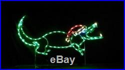 Small Christmas Aligator with Santa Hat LED Lighted Decoration Steel Wireframe