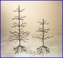 Small Metal Bare Tree Silhouette, Rustic Ornament Display, 3-tier Branches