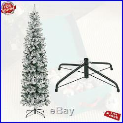 Snow Christmas Tree 7.5ft Pre-Lit Snow Flocked Pencil Artificial Tree Metal Stan