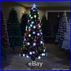 Snowflake LED Fibre Optic Christmas Tree Pre Lit Lights up Colourful Xmas Decor
