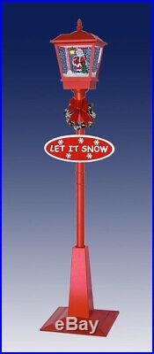 Snowing Christmas Lantern Lamp-Post Red / Santa