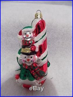 Snowman Decorations 4 Misc Glass Hanging Tree Snowman Decorations, Glitter, 5