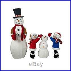 Snowman Family Lighted Christmas Holiday Lights Yard Decoration Pre-lit Decor