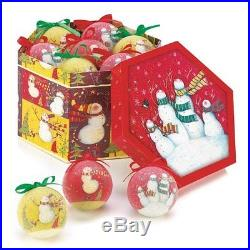 Snowman Family Ornament Box Set of 12 Colorful Christmas Tree Decorations New
