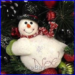 Snowman Wreath Christmas Holiday 2015 Winter XL 27 Red White Black Lime Green