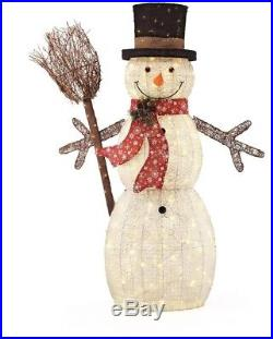 Snowman in Top Hat and amp Broom LED Lights 60 in. PVC Outdoor Christmas Decor