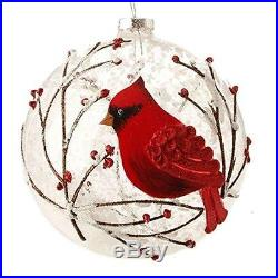 Snowy Red Cardinal & Branches Glass Ball Christmas Tree Ornament, 5 Inches New