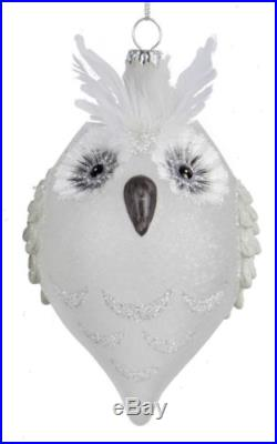 Snowy White Owls with Feathers Christmas Holiday Glass Ornaments Set of 2