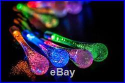 Solar 24 Led Water Drop Crystal String Multi Colour Outdoor Patio Garden Lights
