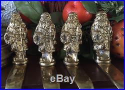 Solid Brass Christmas Tree Stocking HangerHook, Set Of 4 RARE Vintage Christmas