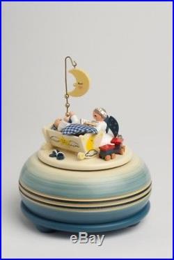 Spieldose klein Gute Nacht blau 15 cm NEU Spieluhr Musikdose Erzgebirge