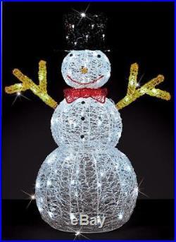 Spun Acrylic Snowman 90cm LED Illuminated Xmas In/outdoor Decoration